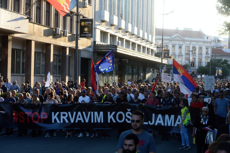 "Demonstranti tokom protesta ""Stop krvavim košuljama"" (Foto: Tanjug/Dimitrije Goll)"