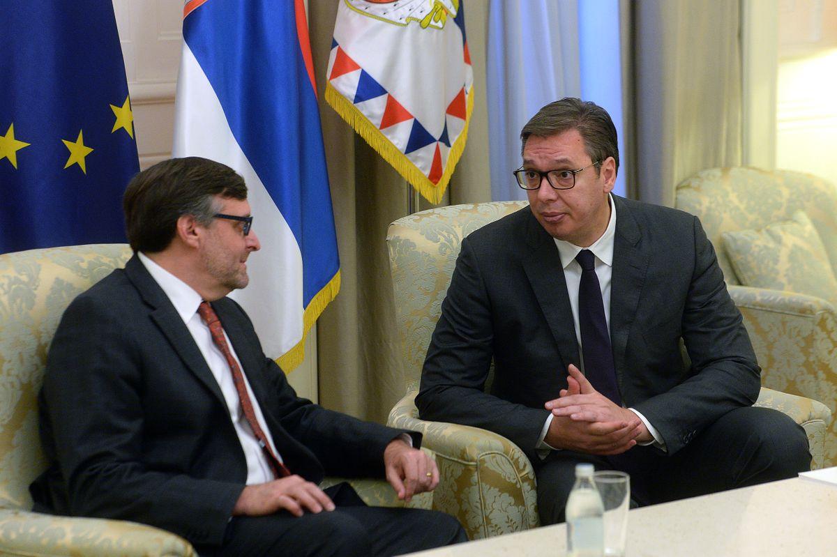 Aleksandar Vučić i Metju Palmer na sastanku (Foto: Predsedništvo/ Dimitrije Goll)