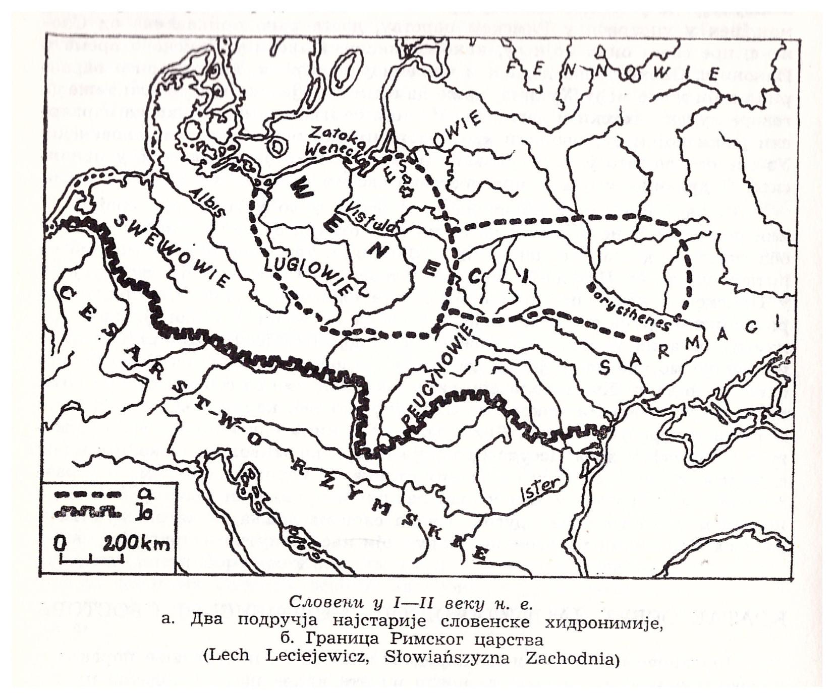 Карта распореда Венда, Свева и суседних народа у I и II веку Леха Лехјевича