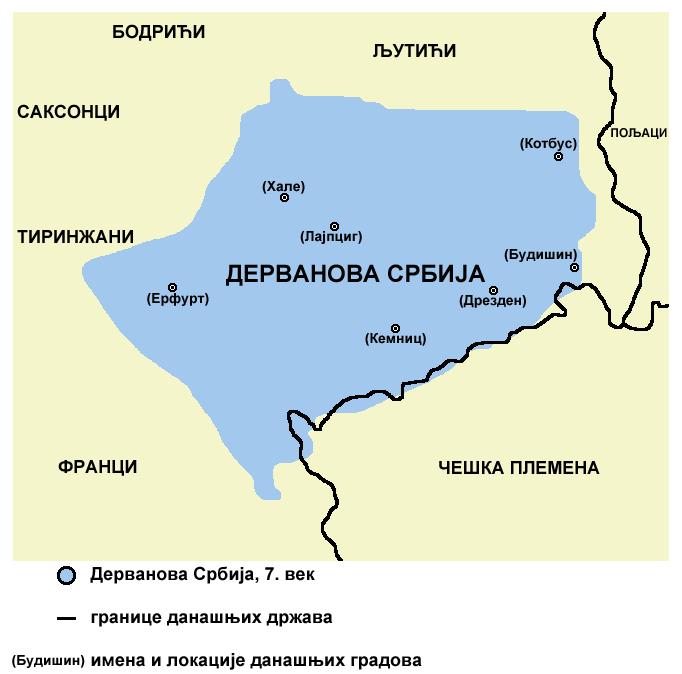 Мапа Дерванове Србије