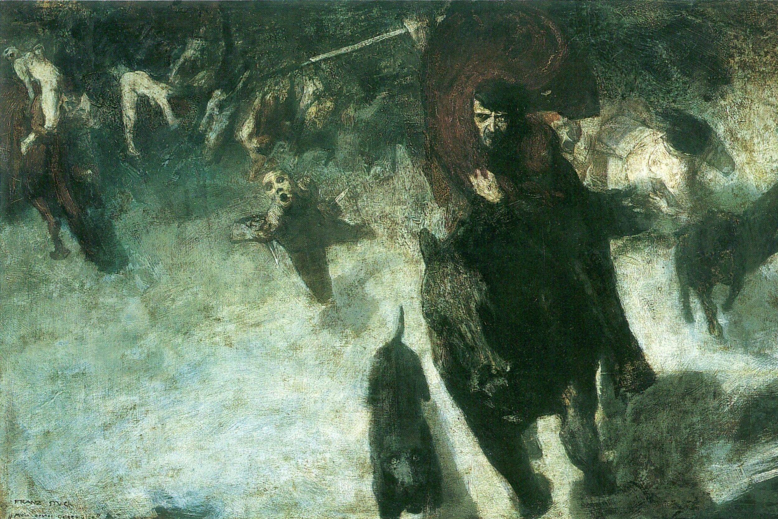 """Jedna od najpoznatijih slika Franca fona Štuka, """"Divlja potera"""" na kojoj je prikazan Votan (Odin) koji vodi povorku mrtvih, 1889. (Foto: i.imgur.com)"""
