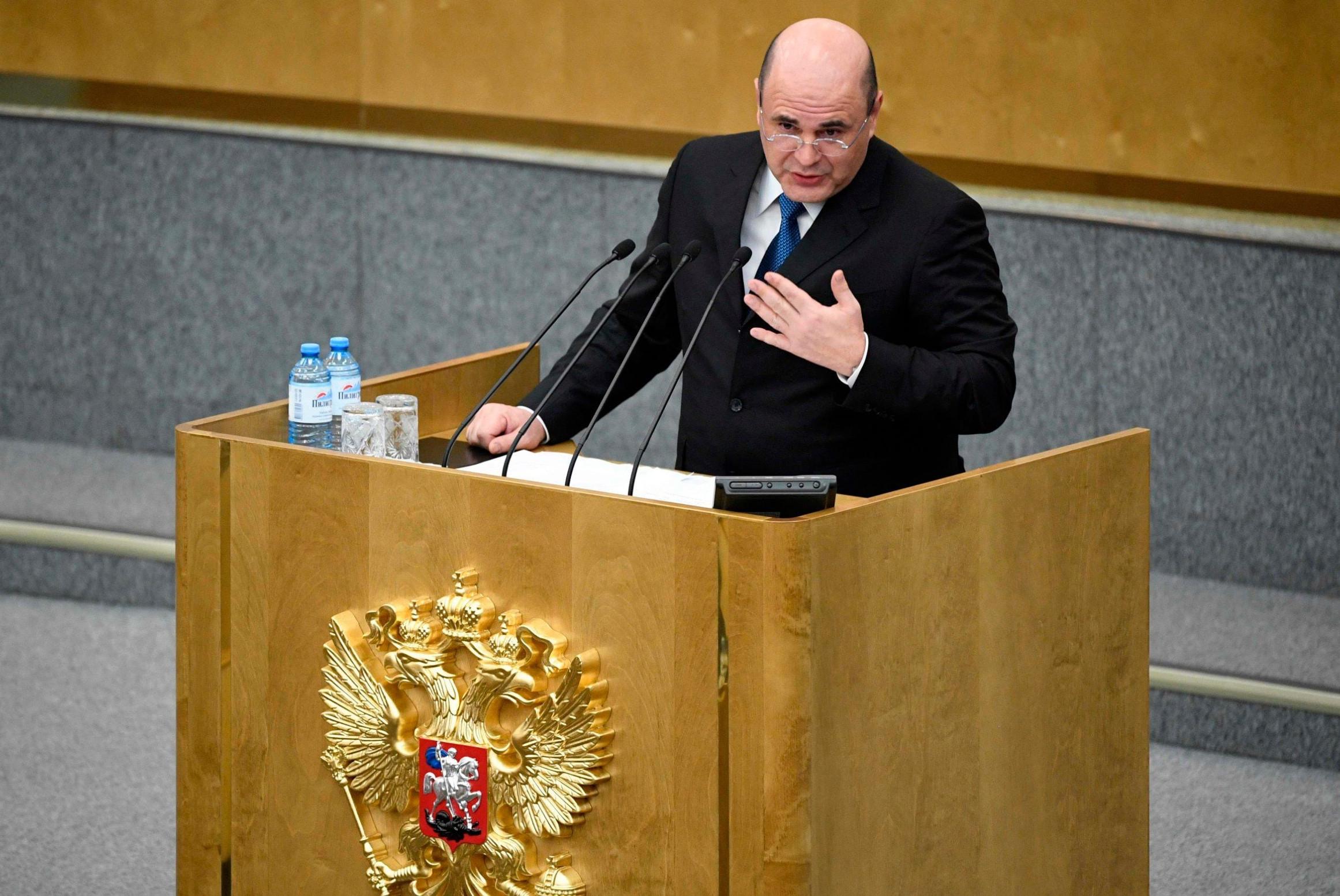 Нови премијер Русије Михаил Мишустин се обраћа посланицима, Москва, 16. јануар 2020. (Фото: ALEXANDER NEMENOV/AFP via Getty Images)