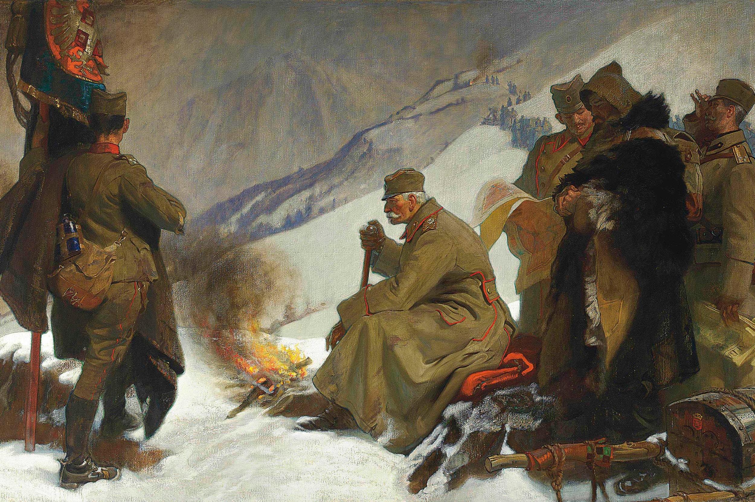 """Frenk Oven Solzberi """"Srpski kralj Petar se povlači preko albanskih planina"""", 1919."""