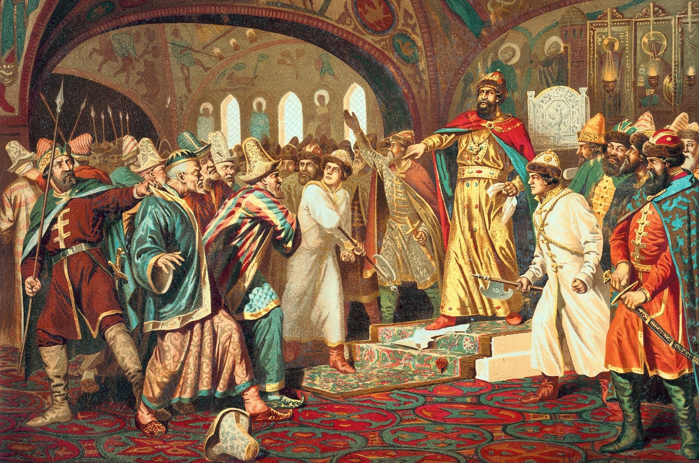 """Кнез Иван III цепа каново писмо на комаде"", Алексеј Кившенко, 1897."