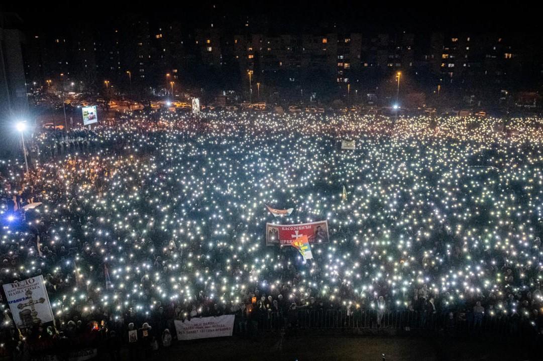 Litija u Podgorici ispred Hrama Hristovog Vaskrsenja, 16. februar 2020. (Foto: Miloš Vujović/mitropolija.com)