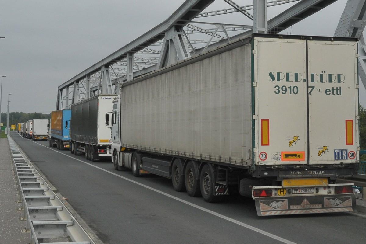 Колона камиона из Србије на чекању испред граничног прелаза Рача са БиХ (Фото: Блиц)