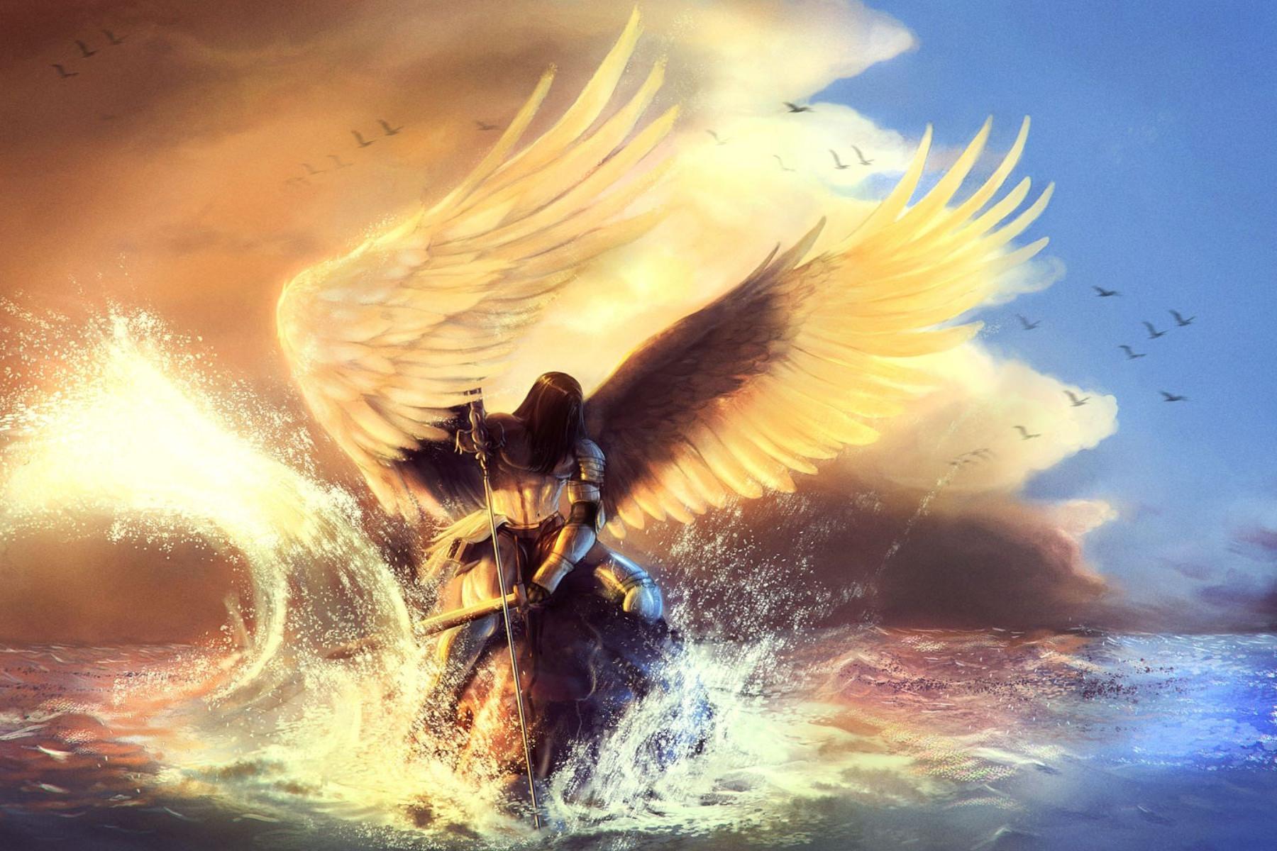 Anđeo sa mačem u vodi (ilustracija)