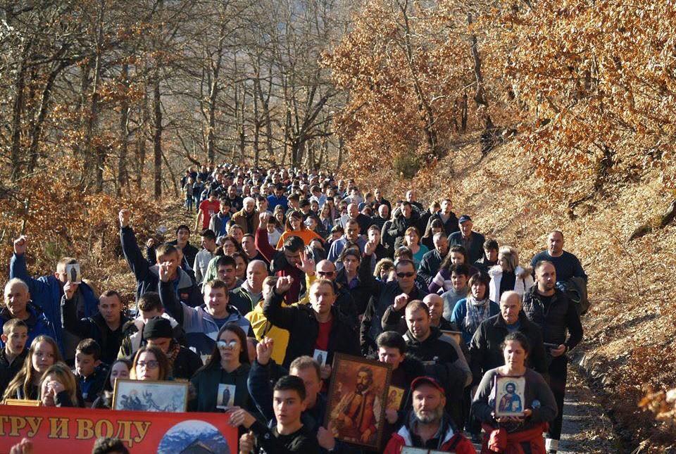 Vernici iz Gornjeg Polimlja u litiji za odbranu svetinja, 13. februar 2020. (Foto: Senka Čolović/mitropolija.com)