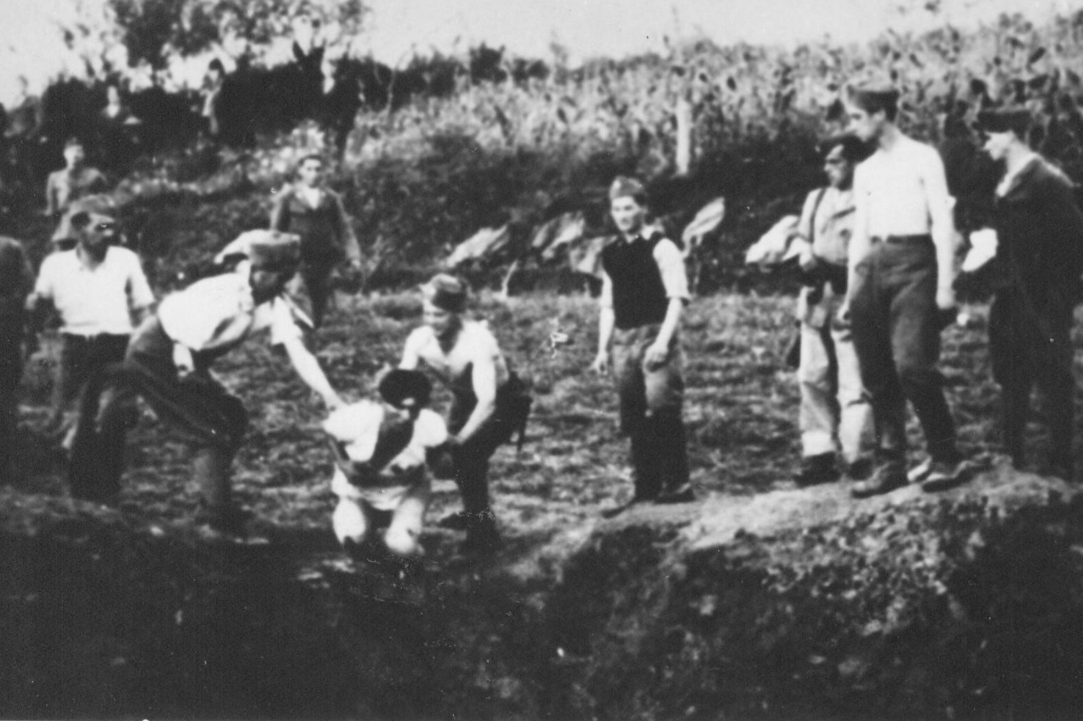 Ustaše ubijaju i bacaju u jamu zatvorene Srbe u Jasenovcu (Foto: Wikipedia)