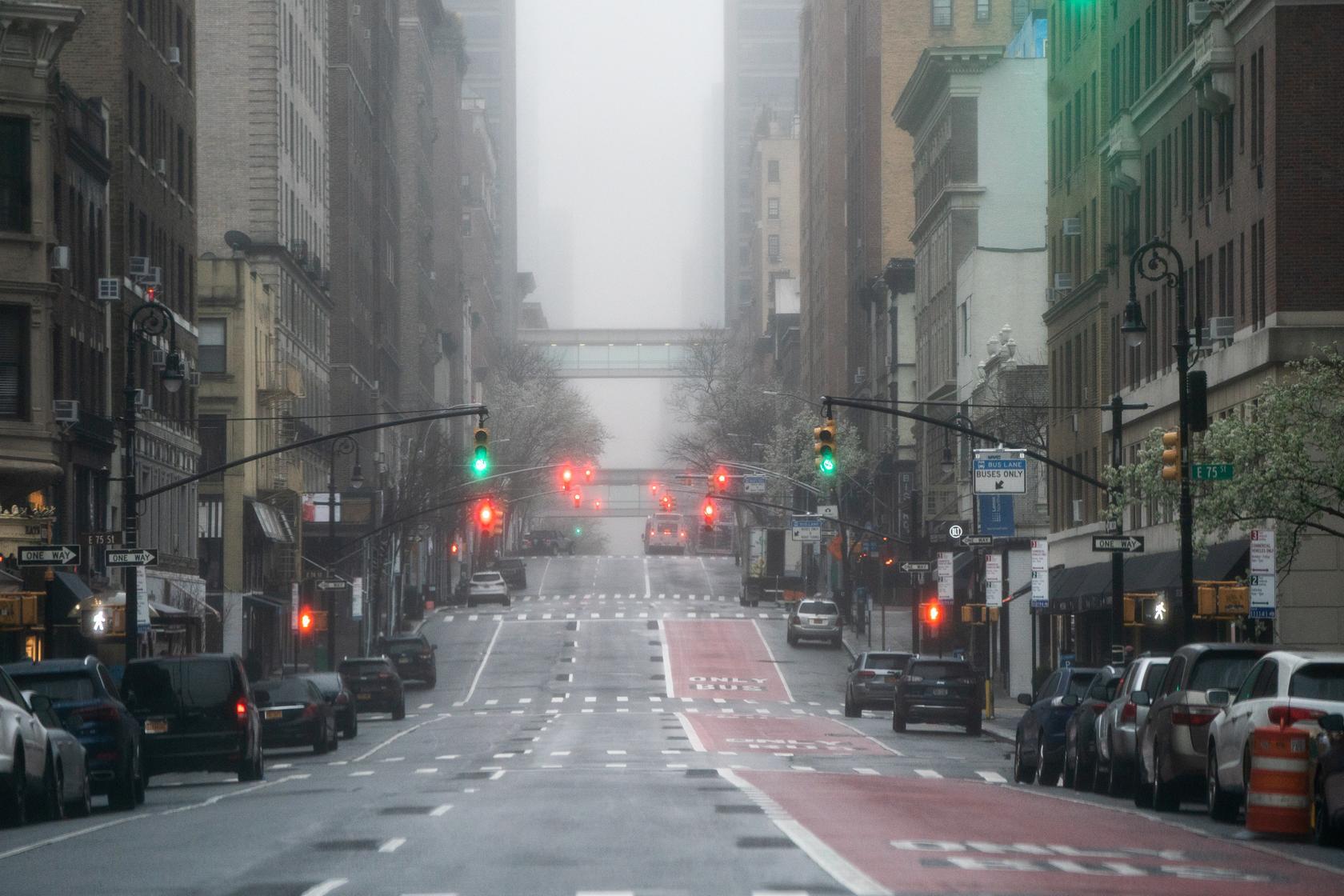 Празне улице Њујорка због вируса COVID-19, 29. март 2020. (Фото: REUTERS/Jeenah Moon)