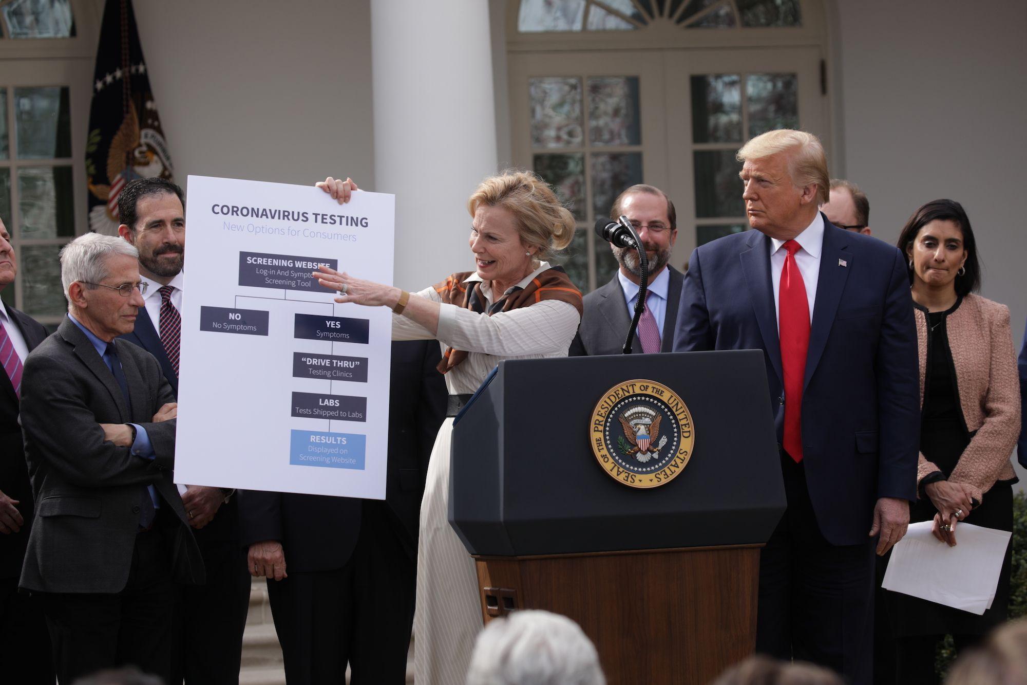Амерички председник Доналд Трамп у присуству стручњака објављује увођење ванредног стања у САД поводом пандемије вируса COVID-19, Бела кућа, 13. март 2020. (Фото: Yasin Öztürk/Anadolu Agency)