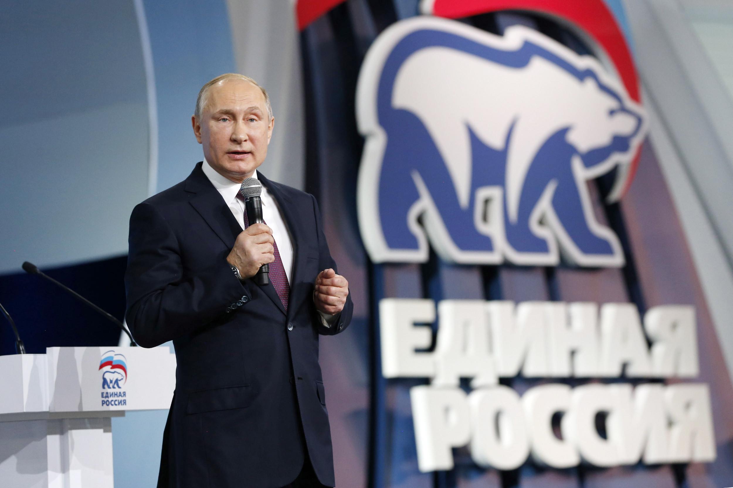Predsednik Rusije Vladimir Putin govori na skupu Jedinstvene Rusije (Foto: TASS)
