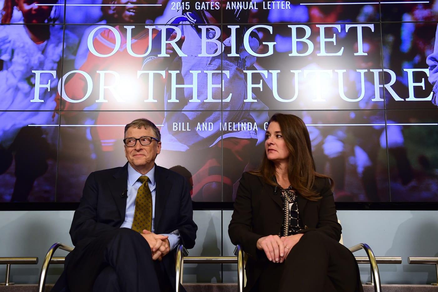 Bil i Melinda Gejts tokom godišnjeg obraćanja javnosti 2015. godine (Foto: EMMANUEL DUNAND/AFP/Getty Images)