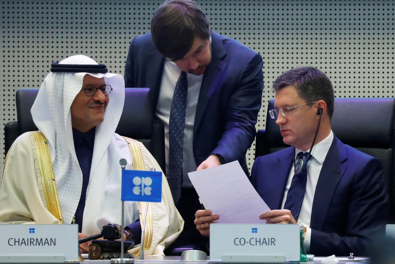 Saudijski ministar energetike princ Abdulaziz bin Salman al Saud i ruski ministar energetike Aleksander Novak na sastanku u Beču, 06. decembar 2019. (Foto: Reuters/Leonhard Foeger)