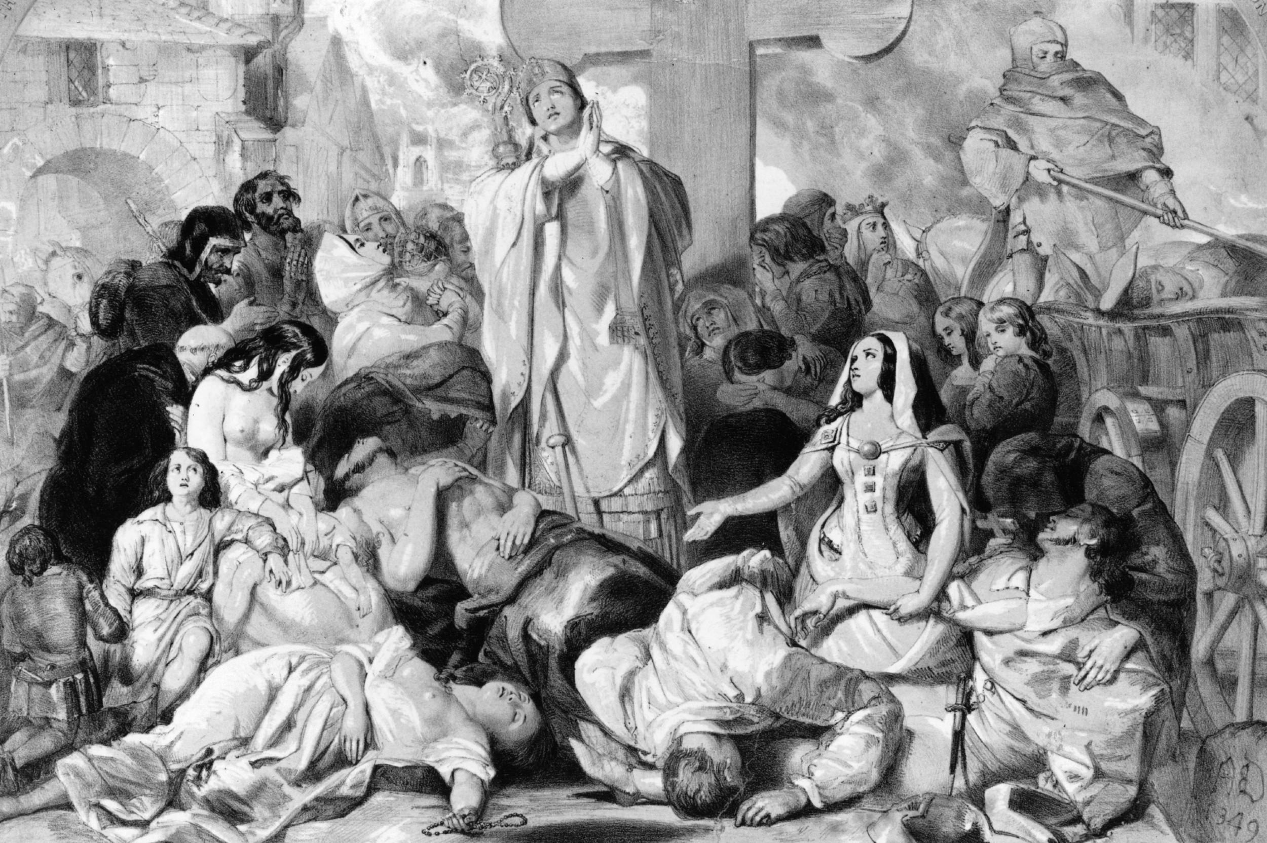 Људи се моле за избављење од бубонске куге, око 1350. године (Фото: Hulton Archive/Getty Images)