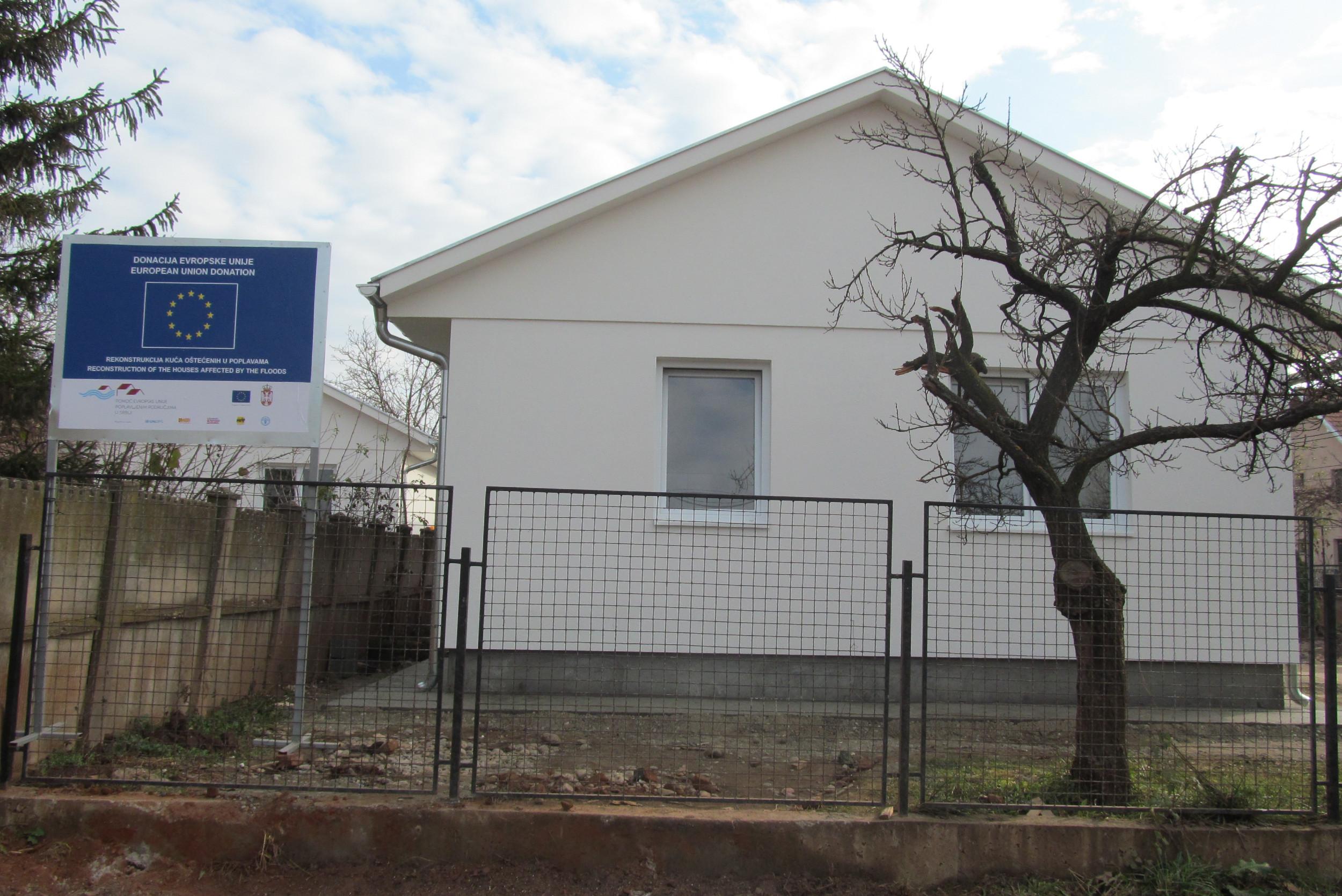 Новоизграђена кућа у Параћину након поплава 2014. године као вид донације ЕУ (Фото: obnova.gov.rs)