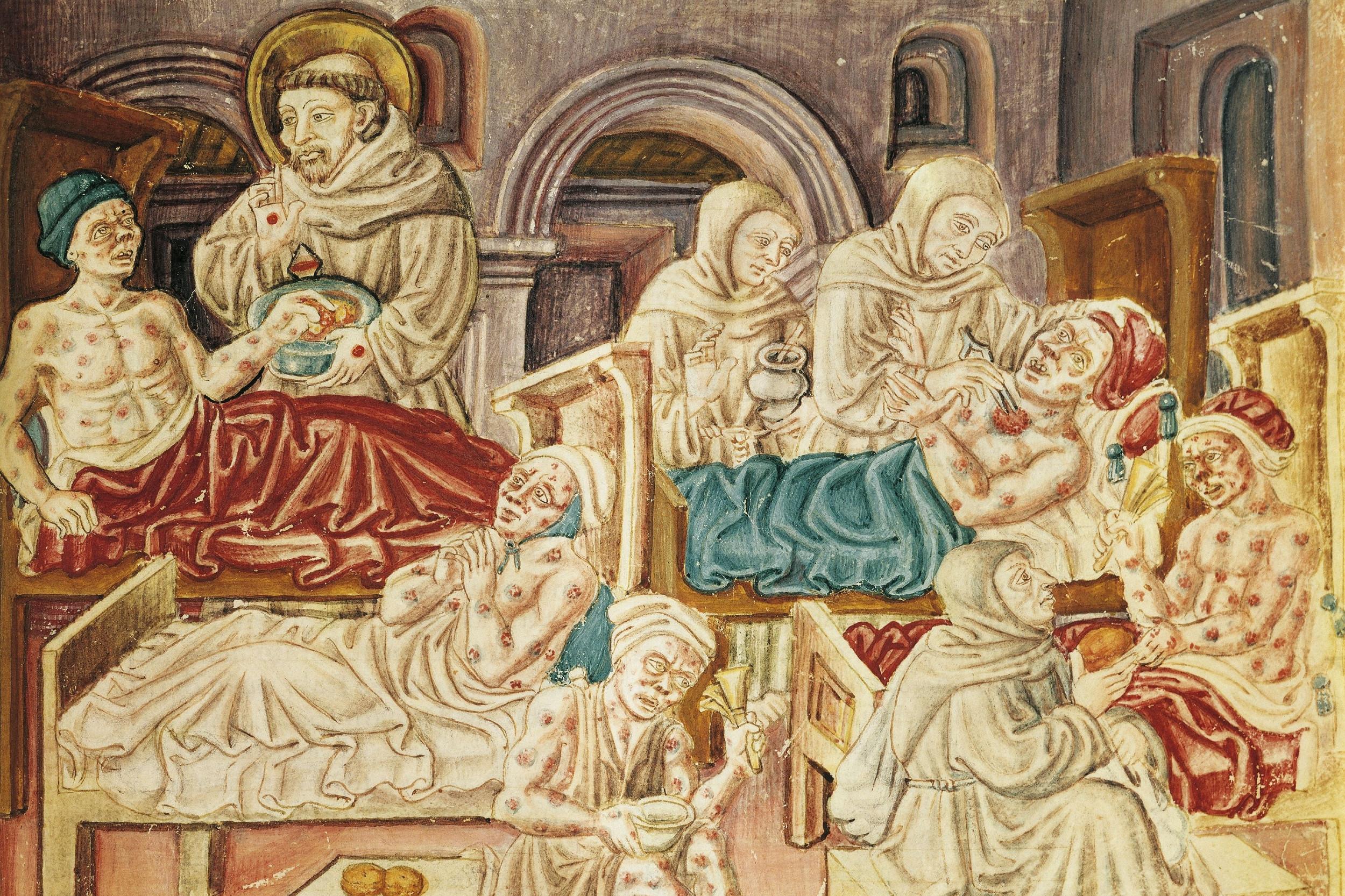 Monasi leče žrtve kuge u 15. veku, nepoznati autor (Foto: Wikimedia)
