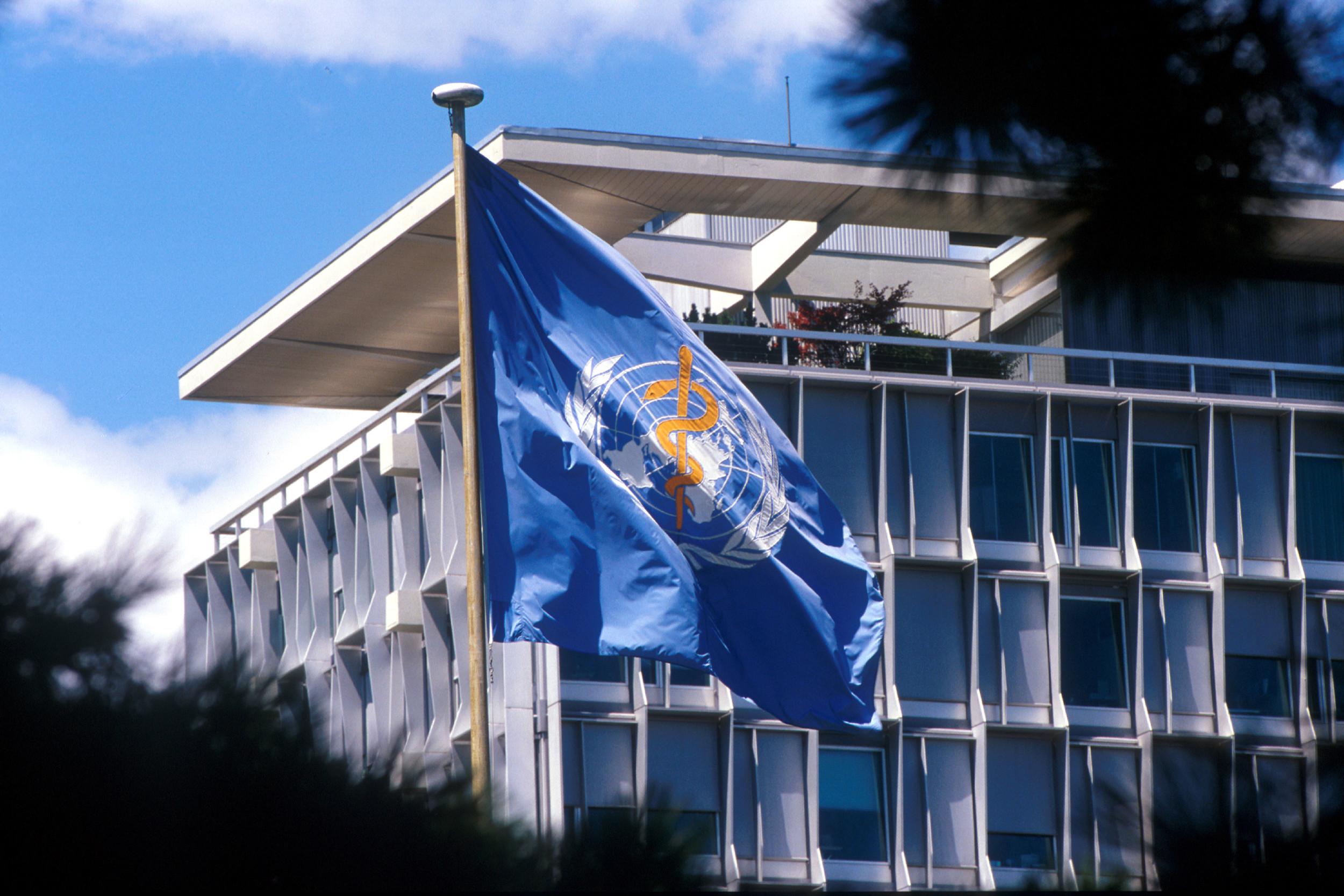 Zastava Svetske zdravstvene organizacije ispred sedišta u Ženevi (Foto: who.int)