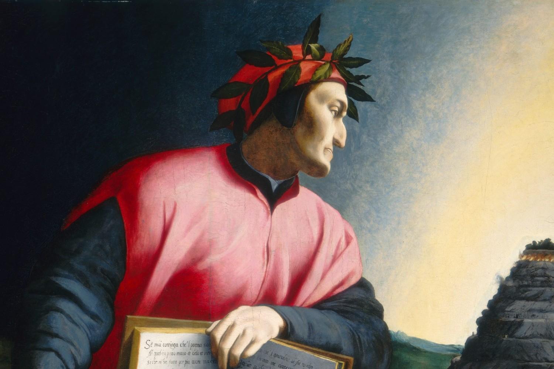 """Detalj sa """"Alegorijskog portreta Dantea"""" koji u rukama drži kopiju """"Božanstvene komedije"""" i gleda na Čistilište, oko 1530. (Foto: Samuel H. Kress Collection/Wikimedia)"""