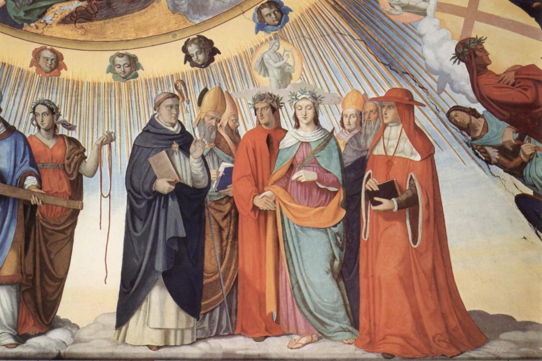 """Freska Filipa Vajta """"Dante i Beatriče razgovaraju sa učiteljima mudrosti Tomasom Akvinskim, Albertusom Magnusom, Peterom Lombardom i Sigijem od Brabanta u sferi Sunca"""" (Foto: The Yorck Project/Wikimedia)"""