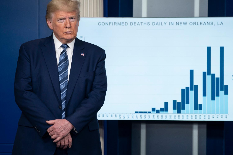 Predsednik SAD Donald Tramp tokom konferencije za medije u Beloj kući povodom pandemije koronavirusa, 05. april 2020. (Foto: Getty Images/Sarah Silbiger)