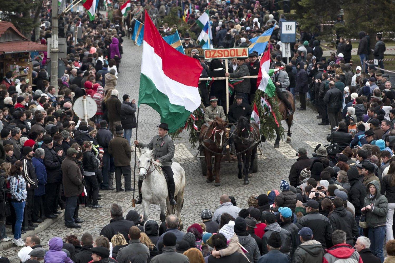 Rumunski Mađari sa zastavama Mađarske tokom parade povodom obeležavanja mađarskog nacionalnog praznika, Targu Sekujesk, 15. mart 2013. (Foto: AP Photo/Vadim Ghirda)