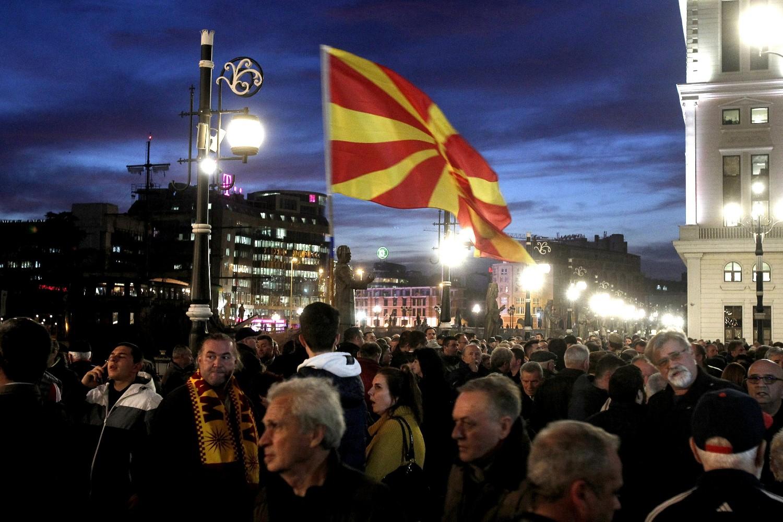 Građani okupljeni na jednom protestnom skupu, Skoplje, 25. februar 2020. (Foto: AP Photo/Boris Grdanoski)