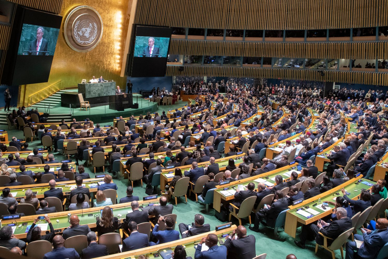 Generalni sekretar Ujedinjenih nacija Antonio Guteres drži govor tokom 74. sednice Generalne skupštine UN-a, Njujork, 24. septembar 2019. (Foto: AP Photo/Mary Altaffer)
