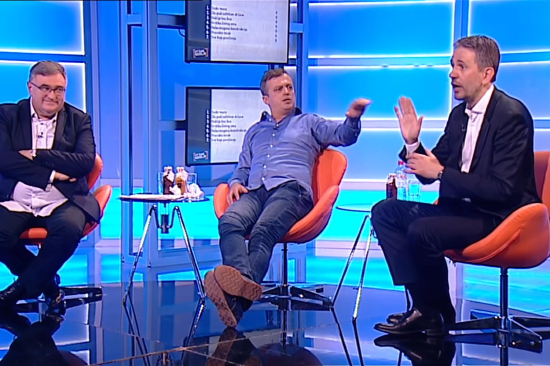 """Đorđe Vukadinović, Sergej Trifunović i Saša Radulović u emisiji """"Utisak nedelje"""", 07. jun 2020. (Foto: Snimak ekrana/Jutjub/Nova S)"""