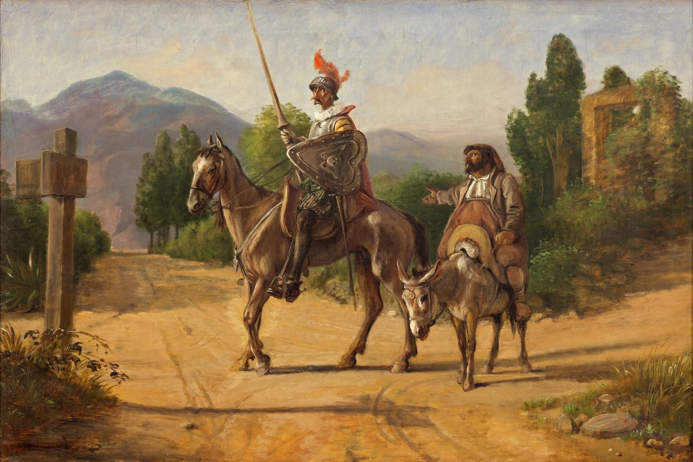 "Vilhelm Marstrand, ""Don Kihot i Sančo Pansa"" na raskrsnici, nakon 1847. (Foto: nivaagaard.dk)"