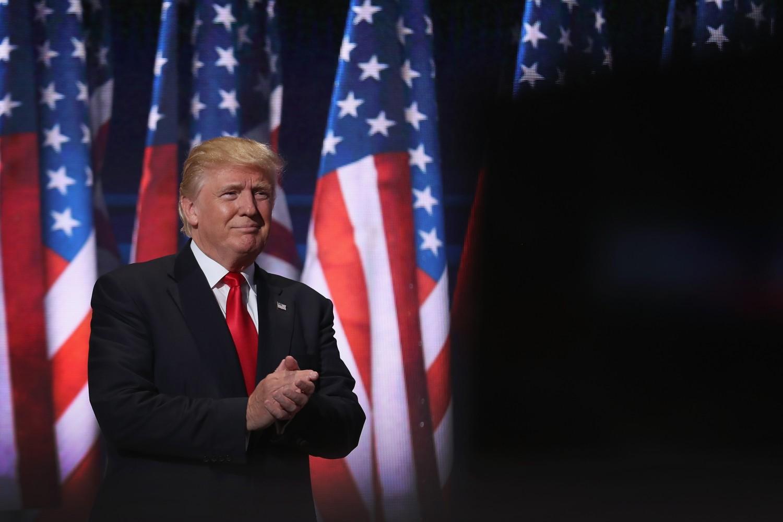 Donald Tramp neposredno pre prihvatanja nominacije Republikanske stranke tokom Republikanske nacionalne konvencije, 21. jul 2016. (Foto: John Moore/Getty Images)
