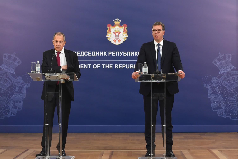 Ministar spoljnih poslova Rusije Sergej Lavrov i predsednik Srbije Aleksandar Vučić tokom zajedničke konferencije za medije (Foto: Tanjug/Dragan Kujundžić)