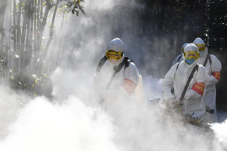 Radnici u zaštitnim odelima vrše dezinfekciju stambenih objekata usled pandemije koronavirusa u Bodžuu u kinsekoj provinciji Anhuej, 18. februar 2020. (Foto: China Daily via Reuters)