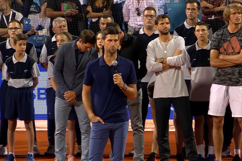 Novak Đoković drži govor prilikom završne ceremonije Adrija tura, Beograd, 14. jun 2020. (Foto: Snimak ekrana/Jutjub/Sport klub)
