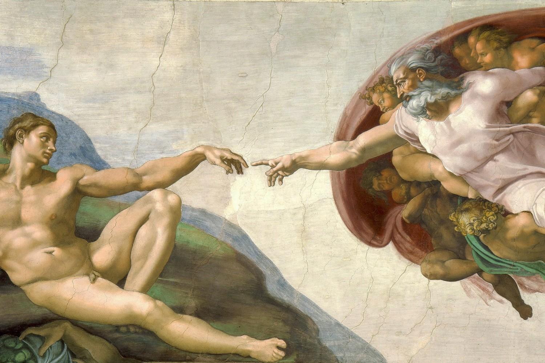 """Freska """"Stvaranje Adama"""" Mikelanđela Buonarotija na na najvišem delu svoda Sikstinske kapele (Foto: Wikimedia/Alonso de Mendoza)"""