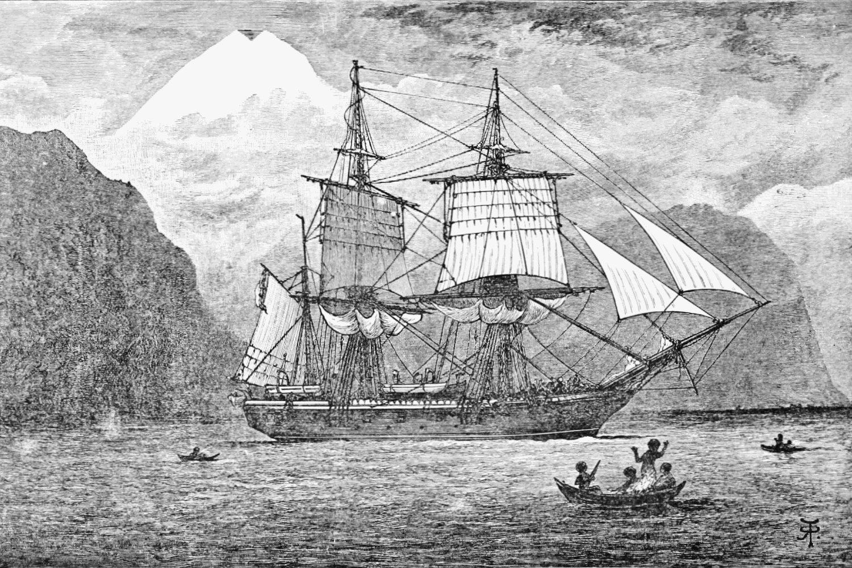 "Brod ""Bigl"" tokom prolaska kroz Magelanov moreuz (Foto: Wikimedia/R. T. Pritchett)"