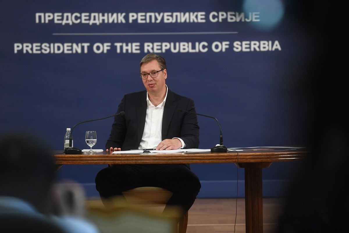 Predsednik Srbije Aleksandar Vučić tokom konferencije za medije, Beograd, 08. jul 2020. (Foto: Predsedništvo Srbije/Dimitrije Goll)