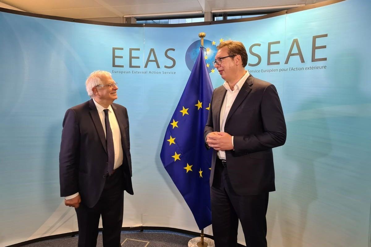 Predsednik Srbije Aleksandar Vučić na sastanku sa Žozepom Borelom u Briselu, 16. jul 2020. (Foto: Predsedništvo Srbije)