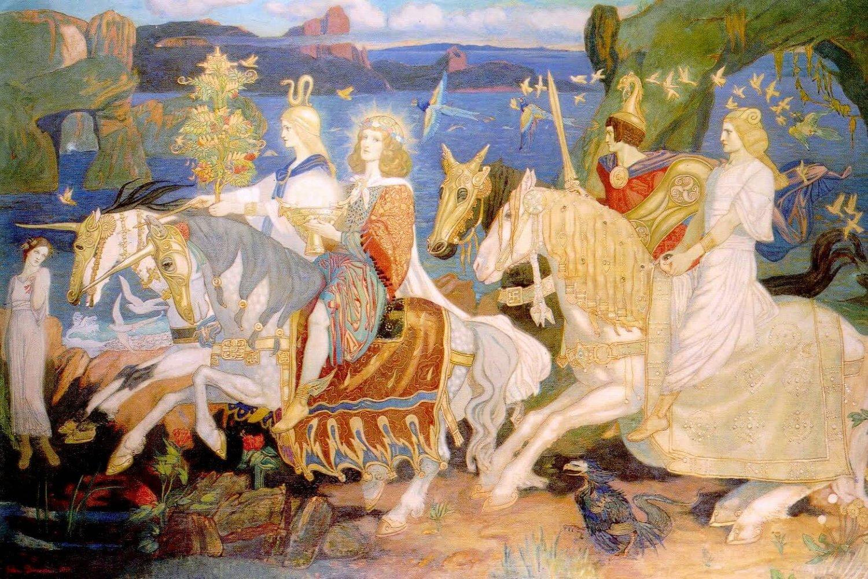 "The Tuatha Dé Danann ili ""narod boginje Danu"" prikazan u slici Džona Dankana, ""Jahači Sidea"", 1911. (Foto: Wikimedia/merlinprints.com)"