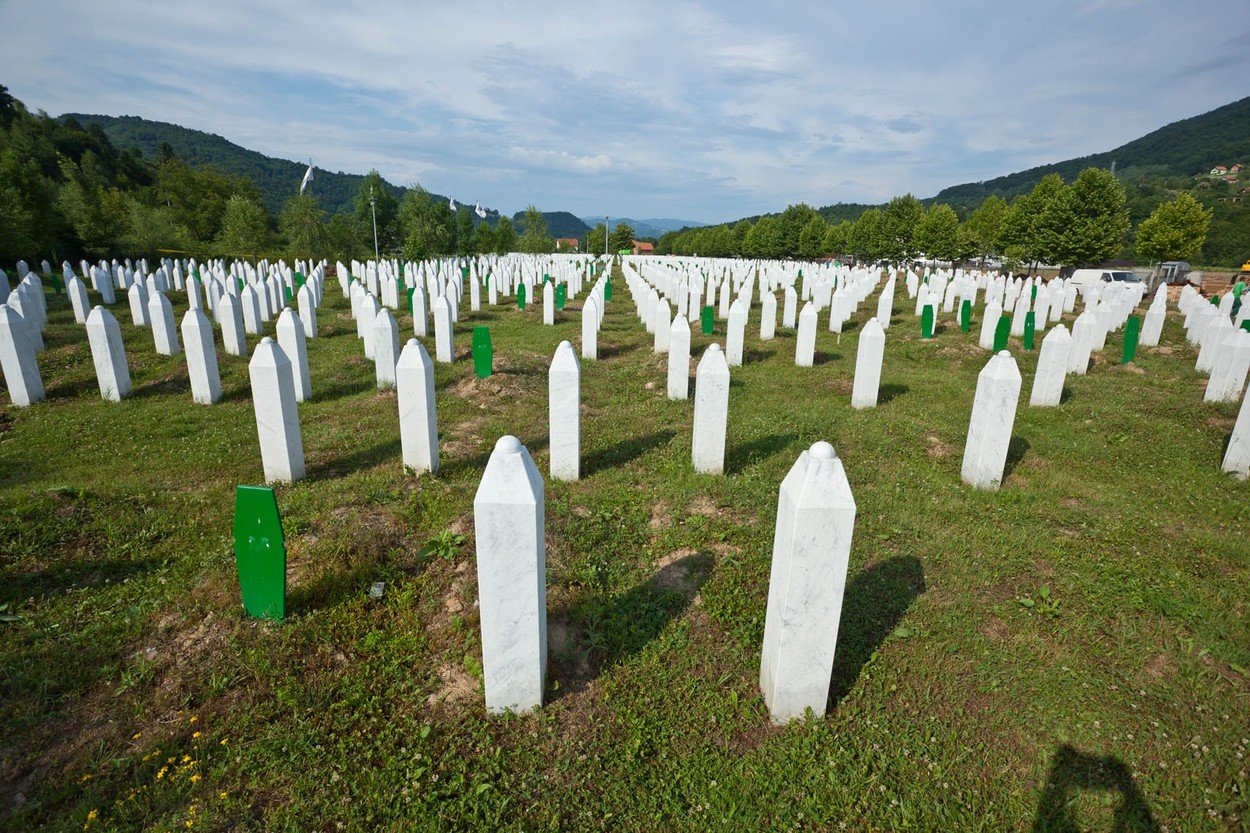 Srebrenica-Potocari Memorial and Cemetery for the Victims of the 1995, Potocari is a village in eastern Bosnia and Herzegovina, 6 km north-west of the town of Srebrenica, genocide, Image: 98683384, License: Rights-managed, Restrictions: , Model Release: no, Credit line: Profimedia, Alamy