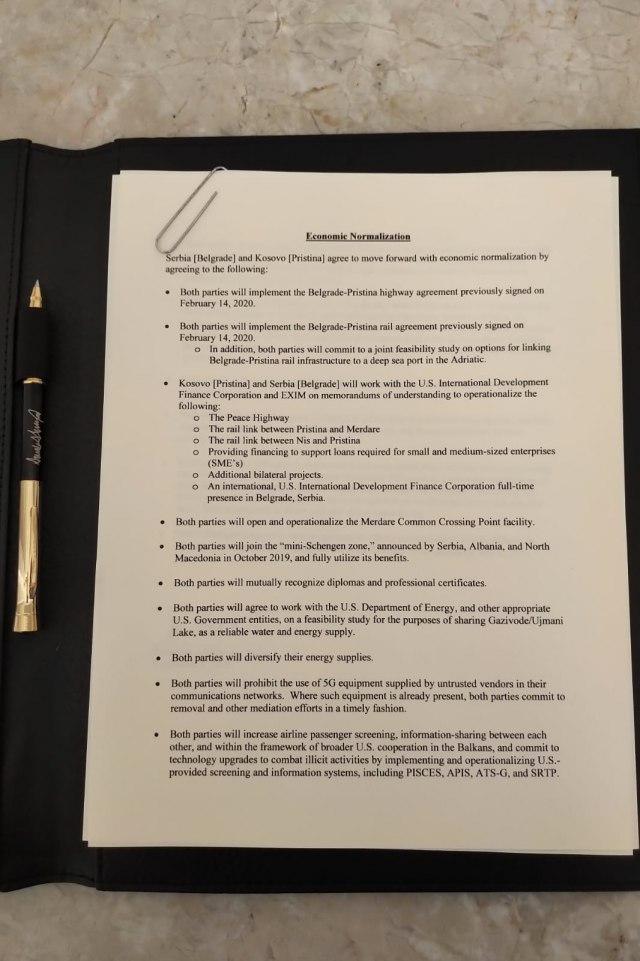 Цео текст билатералног споразума Србије и САД