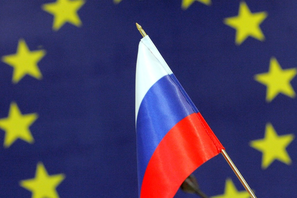 Zastave Rusije i Evropske unije (Foto: Alexander Miridonov/Kommersant)