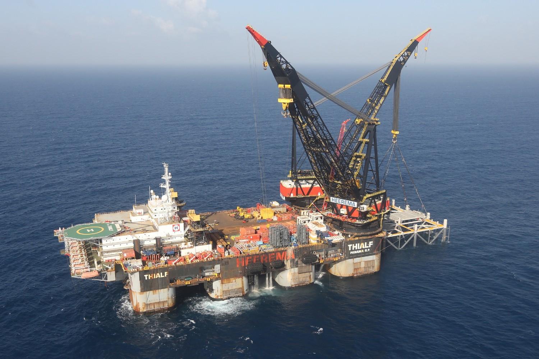 Pogled iz vazduha na platformu za bušenje prirodnog gasa Levijatan u Sredozemnom moru, u blizini obala Haife, 31. januar 2019. (Foto: Marc Israel Sellem/Pool via Reuters)