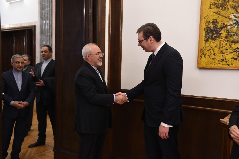 Ministar spoljnih poslova Irana Mohamad Džavad Zarif tokom sastanka sa predsednikom Srbije Aleksandrom Vučićem prilikom zvanične posete Beogradu, 26. februar 2018. (Foto: Tanjug/Dragan Kujundžić)