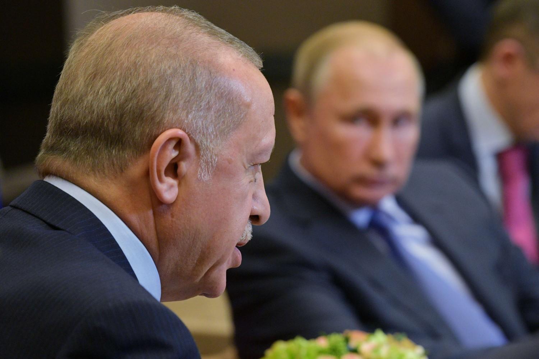 Predsednik Rusije Vladimir Putin i predsednik Turske Redžep Tajip Erdogan tokom sastanka, Soči, 22. oktobar 2019. (Foto: Alexei Druzhinin/Sputnik/Reuters)