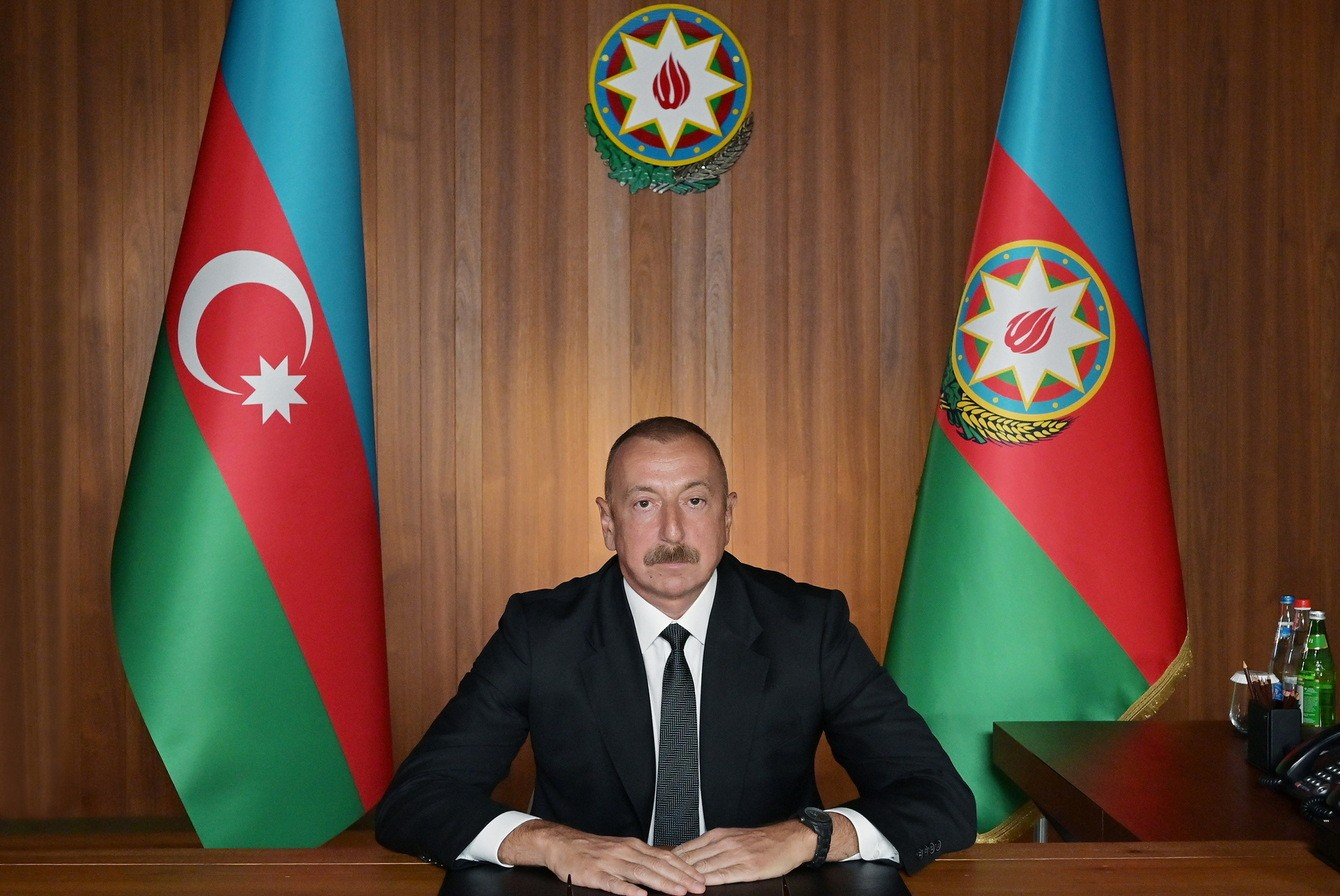Predsednik Azerbejdžana Ilham Alijev tokom govora putem video linka na 75. zasedanju Generalne skupštine Ujedinjenih nacija, 24. septembar 2020. (Foto: president.az)