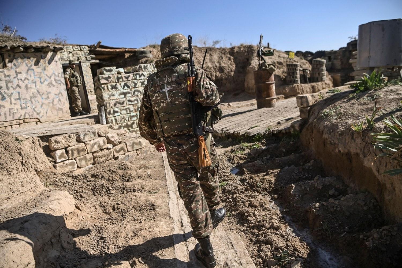 Jermenski vojnik na ratištu u Nagorno-Karabahu, 25. oktobar 2020. (Foto: AFP Photo)