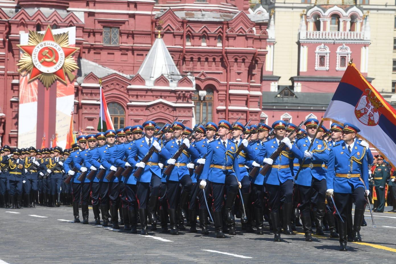 Gardisti Vojske Srbije na Paradi pobede u Moskvi povodom 75. godišnjice pobede nad fašizmom u Drugom svetskom ratu. 24. jun 2020. (Foto: Predsedništvo Srbije/Tanjug/Dimitrije Goll)