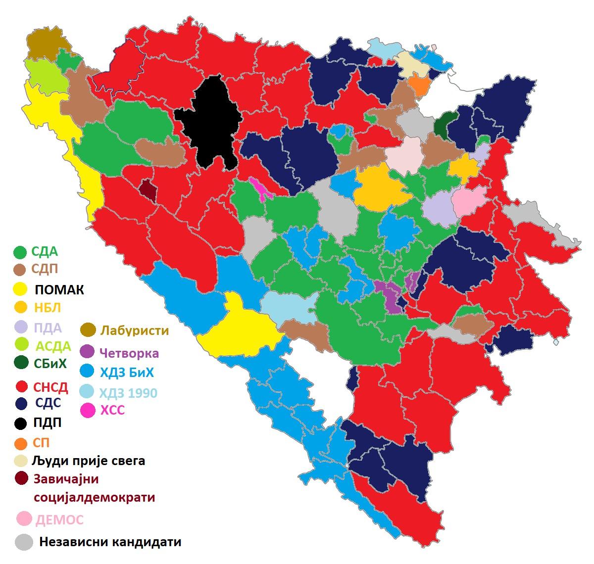 Интерактивна мапа БиХ на основу изборних резултата 2020. (Илустрација: Рајко Петровић/Нови Стандард)
