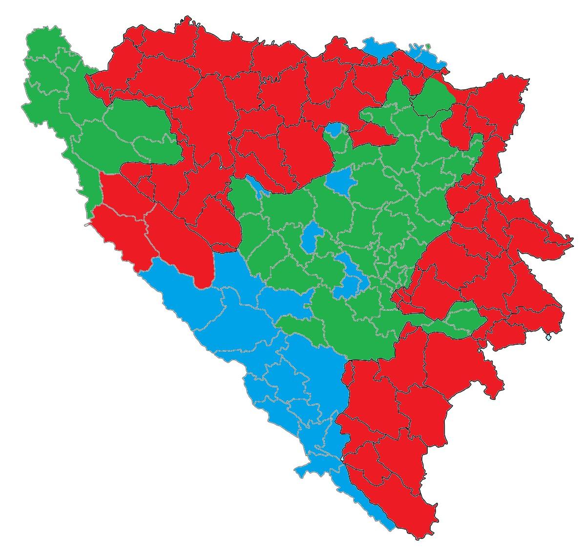 tnička karta BiH na osnovu rezultata izbora (Ilustracija: Rajko Petrović)
